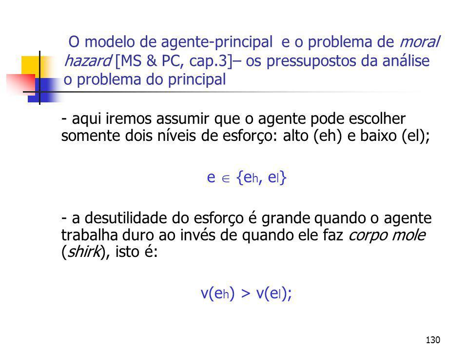 O modelo de agente-principal e o problema de moral hazard [MS & PC, cap.3]– os pressupostos da análise o problema do principal